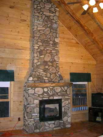 Rustic River Rock Fireplace
