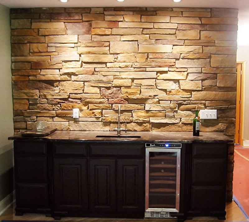 Dramatic Stone Wet Bar Backdrop