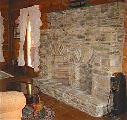Log Cabin Fireplace With Wood Storage